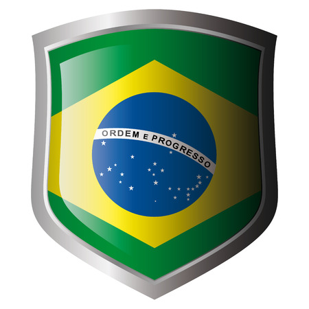 brazil vector illustration flag on metal shiny shield. Collection of flags on shield against white background. Isolated object.