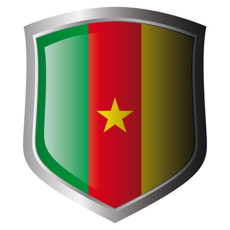 cameroon: bandiera di illustrazione vettoriale Camerun in metallo lucido scudo. Insieme di flag su scudo contro lo sfondo bianco. Oggetto isolato. Vettoriali