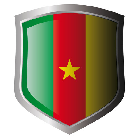 cameroon: cameroon vector illustration flag on metal shiny shield. Collection of flags on shield against white background. Isolated object.