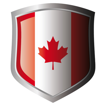 canada vector illustration flag on metal shiny shield. Collection of flags on shield against white background. Isolated object.