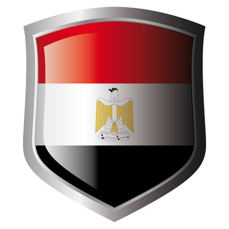 egypt vector illustration flag on metal shiny shield. Collection of flags on shield against white background. Isolated object. Vector