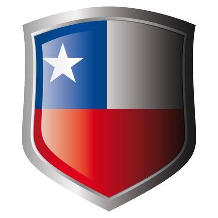 bandera de chile: Bandera de ilustraci�n de vector de Chile en metal escudo brillante. Colecci�n de banderas en escudo contra el fondo blanco. Objeto aislado.  Vectores