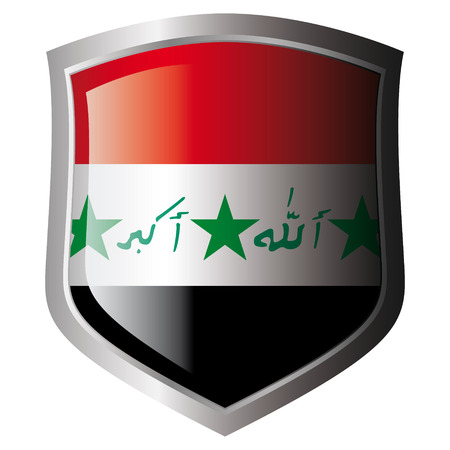 iraq vector illustration flag on metal shiny shield. Collection of flags on shield against white background. Isolated object. Vector