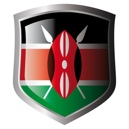 kenya vector illustration flag on metal shiny shield. Collection of flags on shield against white background. Isolated object. Vector