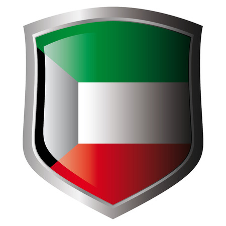 kuwait vector illustration flag on metal shiny shield. Collection of flags on shield against white background. Isolated object. Vector