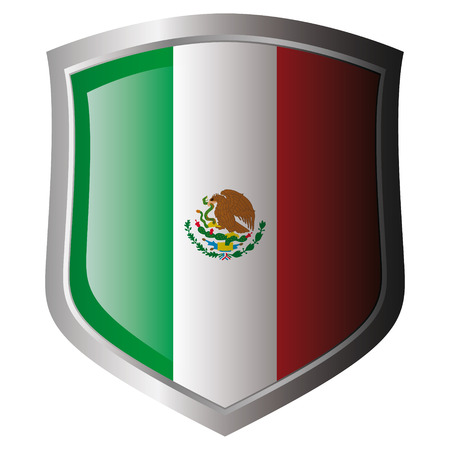 mexico vector illustration flag on metal shiny shield. Collection of flags on shield against white background. Isolated object. Vector