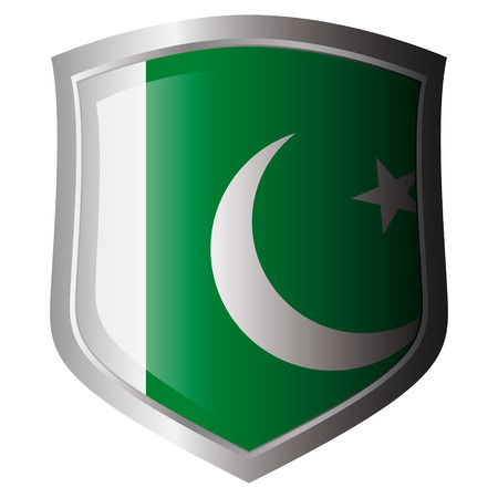 pakistan vector illustration flag on metal shiny shield. Collection of flags on shield against white background. Isolated object. Vector