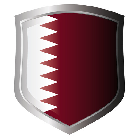 qatar vector illustration flag on metal shiny shield. Collection of flags on shield against white background. Isolated object. Vector