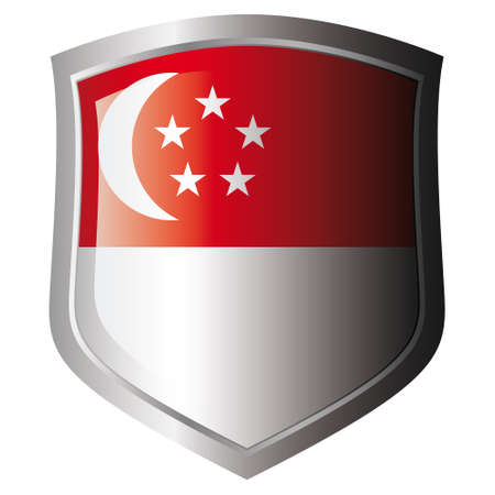 singapore vector illustration flag on metal shiny shield. Collection of flags on shield against white background. Isolated object.