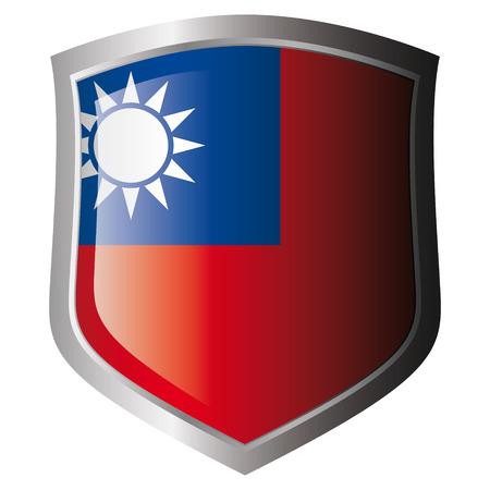 Taiwan vector illustration drapeau sur le bouclier brillant métallique. Collection de drapeaux sur le bouclier sur fond blanc. Objet isolé.
