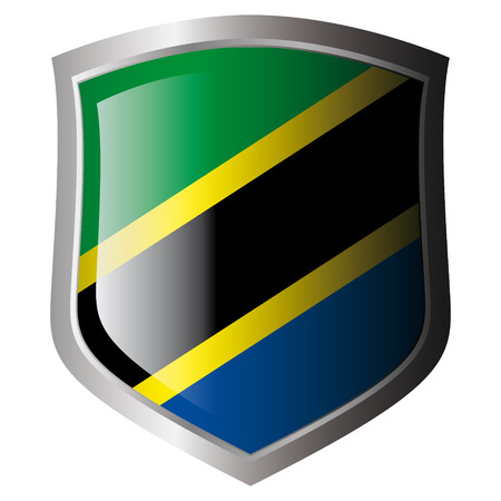 tanzania vector illustration flag on metal shiny shield. Collection of flags on shield against white background. Isolated object. Vector