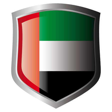 arab flags: united arab emirates vector illustration flag on metal shiny shield. Collection of flags on shield against white background. Isolated object.