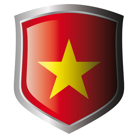 vietnam vector illustration flag on metal shiny shield. Collection of flags on shield against white background. Isolated object. Vector