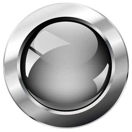 knop: Vector illustratie grijs glosy en glanzende abstracte web knop met metalen ring. Geïsoleerd op een witte achtergrond.