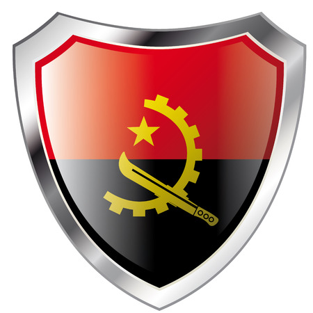 angola flag on metal shiny shield vector illustration. Collection of flags on shield against white background. Abstract isolated object. Vector