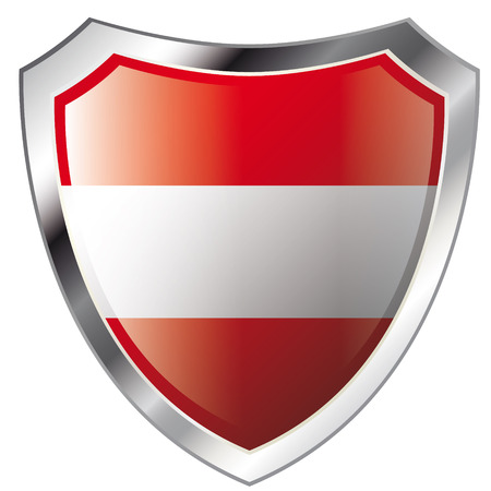 austria flag on metal shiny shield vector illustration. Collection of flags on shield against white background. Abstract isolated object. Vector