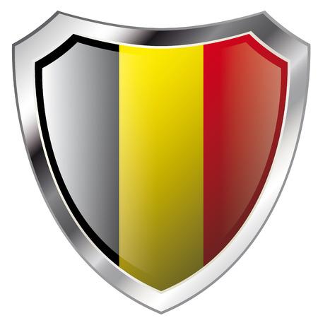 belgie: vlag van België op het glanzende metalen schild vector illustratie. Verzameling van vlaggen op schild tegen een witte achtergrond. Abstract geïsoleerde object.