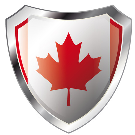 canada flag on metal shiny shield vector illustration. Collection of flags on shield against white background. Abstract isolated object. Illustration
