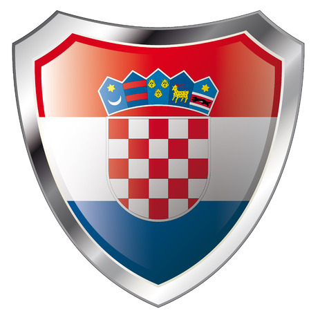 croatia flag on metal shiny shield vector illustration. Collection of flags on shield against white background. Abstract isolated object. Stock Vector - 6113191