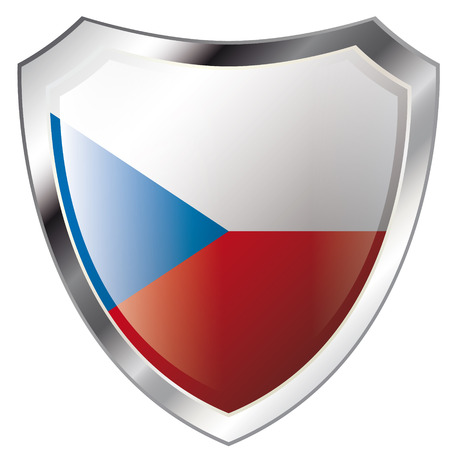 czech flag on metal shiny shield vector illustration. Collection of flags on shield against white background. Abstract isolated object. Vector
