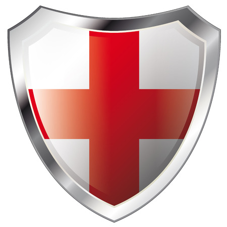 england flag on metal shiny shield vector illustration. Collection of flags on shield against white background. Abstract isolated object. Vector