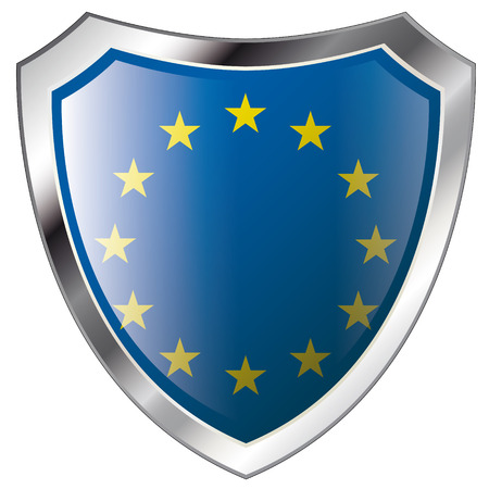 europe union flag on metal shiny shield vector illustration. Collection of flags on shield against white background. Abstract isolated object.
