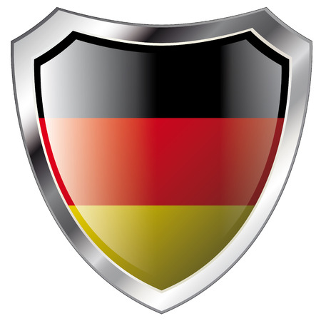 germany flag on metal shiny shield vector illustration. Collection of flags on shield against white background. Abstract isolated object. Ilustrace