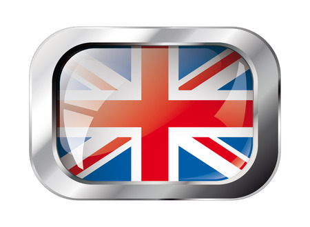 shiny button: great britain shiny button flag vector illustration. Isolated abstract object against white background.