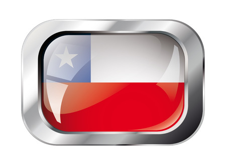 chile shiny button flag vector illustration. Isolated abstract object against white background. Vector