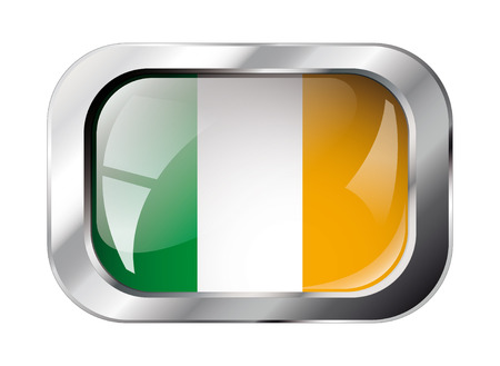 ireland shiny button flag vector illustration. Isolated abstract object against white background. Stock Vector - 6252254