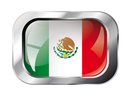 mexico shiny button flag vector illustration. Isolated abstract object against white background. Vector