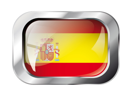 spain shiny button flag vector illustration. Isolated abstract object against white background. Vector