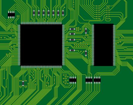 electrical circuit: Illustrazione del circuito verde. Astratto tecnologia sfondo - scienza prossimo futuro. Vettoriali