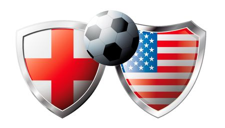 England versus USA abstract vector illustration isolated on white background. Soccer match in South Africa 2010. Shiny football shield of flag England versus USA Vector