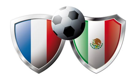 France versus Mexico abstract vector illustration isolated on white background. Soccer match in South Africa 2010. Shiny football shield of flag France versus Mexico Stock Vector - 6906248