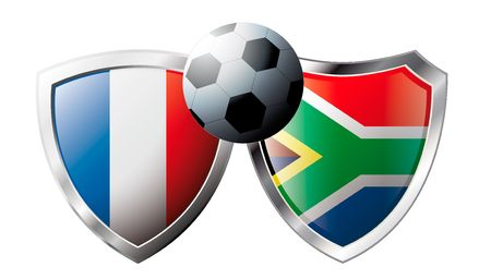 France versus South Africa abstract vector illustration isolated on white background. Soccer match in South Africa 2010. Shiny football shield of flag France versus South Africa Stock Vector - 6905758