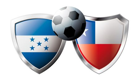 flag of honduras: Honduras versus Chile abstract vector illustration isolated on white background. Soccer match in South Africa 2010. Shiny football shield of flag Honduras versus Chile Illustration