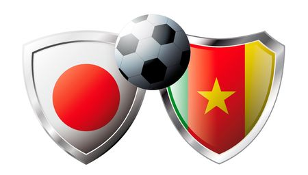 Japan versus Cameroon abstract vector illustration isolated on white background. Soccer match in South Africa 2010. Shiny football shield of flag Japan versus Cameroon Stock Vector - 6906242