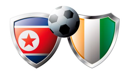 Korea DPR versus Cote d I voire abstract vector illustration isolated on white background. Soccer match in South Africa 2010. Shiny football shield of flag Korea DPR versus Cote d I voire Stock Vector - 6906240