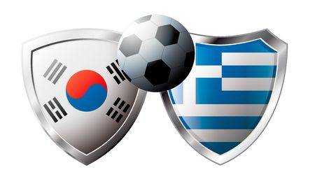 Korea Republic versus Greece abstract vector illustration isolated on white background. Soccer match in South Africa 2010. Shiny football shield of flag Korea Republic versus Greece Stock Vector - 6906236