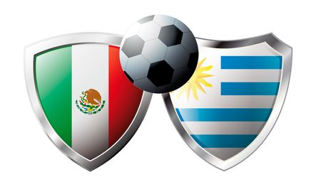 versus: Mexico versus Uruguay abstract vector illustration isolated on white background. Soccer match in South Africa 2010. Shiny football shield of flag Mexico versus Uruguay