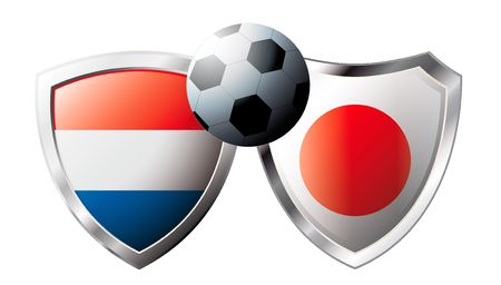 Netherlands versus Japan abstract vector illustration isolated on white background. Soccer match in South Africa 2010. Shiny football shield of flag Netherlands versus Japan Stock Vector - 6906239