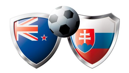 flag of new zealand: New zealand versus Slovakia abstract vector illustration isolated on white background. Soccer match in South Africa 2010. Shiny football shield of flag New zealand versus Slovakia