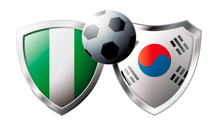 Nigeria versus Korea Republic abstract vector illustration isolated on white background. Soccer match in South Africa 2010. Shiny football shield of flag Nigeria versus Korea Republic Stock Vector - 6906228