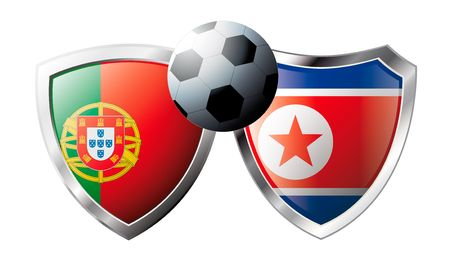 Portugal versus Korea DPR abstract vector illustration isolated on white background. Soccer match in South Africa 2010. Shiny football shield of flag Portugal versus Korea DPR Stock Vector - 6906284