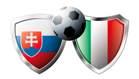Slovakia versus Italy abstract vector illustration isolated on white background. Soccer match in South Africa 2010. Shiny football shield of flag Slovakia versus Italy Stock Vector - 6906247