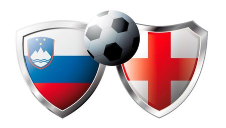Slovenia versus England abstract vector illustration isolated on white background. Soccer match in South Africa 2010. Shiny football shield of flag Slovenia versus England Stock Vector - 6906229