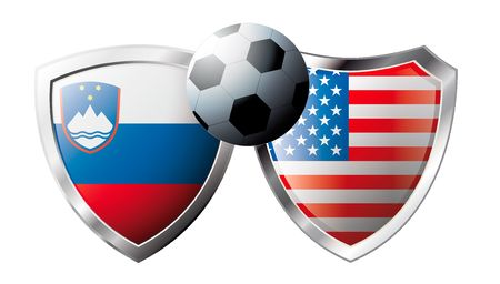 Slovenia versus USA abstract vector illustration isolated on white background. Soccer match in South Africa 2010. Shiny football shield of flag Slovenia versus USA Vector
