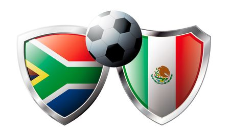 versus: South Africa versus Mexico abstract vector illustration isolated on white background. Soccer match in South Africa 2010. Shiny football shield of flag South Africa versus Mexico