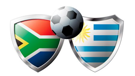 South Africa versus Uruguay abstract vector illustration isolated on white background. Soccer match in South Africa 2010. Shiny football shield of flag South Africa versus Uruguay Stock Vector - 6906202